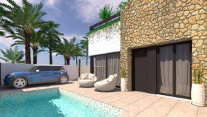 ALEJANDRA VIII, 3 soveroms 1-plan villa mellom strand og golfbanen i Pilar de la Horadada
