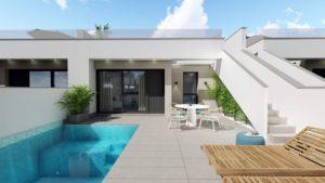 Sungolf villas, 2 soveroms villa/bungalow med takterrasse i Pilar de la Horadada
