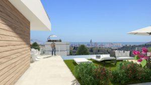 Castellets, 3 soveroms villa i Finestrat med flott utsikt utover Benidorm og sjø fra bassenget, Costa Blanca Nord