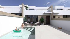 La Alameda Fase II, 3 soveroms rekkehus med kjeller og basseng i Benijofar
